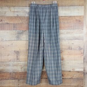 Anne Klein Wool Pants Women's Size 6 Gray Check Z1